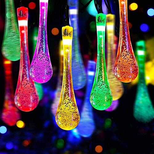 Solar String Lights 30LED 20ft, Highill Waterproof Raindrop Fairy Lights Solar Powered Outdoor Decorative Christmas Lighting for Garden, Yard, Fences, Patio, Wedding Party, Xmas Tree - Multi Color