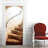 ZOOINB Murales para Puertas 3D para Puertas Papel Pintado Puertas Autoadhesivo,95X215Cm Escalera De Caracol Vintage Impermeable Mural Puertas Pegatinas 3D para Puertas PVC Decorativos para Puertas