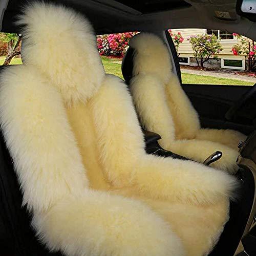 Sheepskin Car Seat Covers, Winter Warm Sheepskin Car Seat Cover, Sheepskin Fur Wool Car Seat Cover for Front Seat, Luxury Long Wool Front Seat Cover Fits Most Car, Truck, SUV, or Van (Beige, 1)