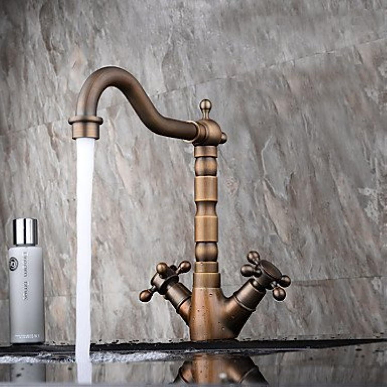 GAOLI Bad Waschbecken Wasserhhne Zeitgenssische moderne Centerset weit verbreitet mit Keramik entil Einhebel ein Loch für antikes Kupfer, Waschbecken Wasserhahn