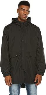 Mens Breathable Rain Jacket Waterproof with Hood Lined Windbreaker
