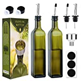 [2 PACK]Aozita 17 oz Glass Olive Oil Dispenser Bottle Set - 500ml Dark Green Oil & Vinegar Cruet Bottle with Pourers, Funnel and Labels - Olive Oil Carafe Decanter for Kitchen