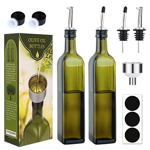 [2 PACK]Aozita 17 oz Glass Olive Oil Dispenser Bottle Set - 500ml Dark Green Oil & Vinegar Cruet Bottle with Pourers, Funnel and Labels - Olive Oil Carafe Decanter for Kitchen