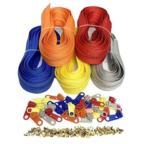 DOITEM 2.8 mm Reißverschluss 14 Meter Nylon Endlosreißverschluss Set mit Schieber und Zipper - 5 Farben
