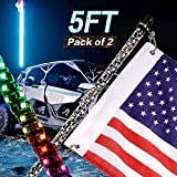 Yvoone-Auto 5ft LED Whip Light with Flag Pole Remote Control Spiral RGB Color Lighted Whips Offroad Warning Lighted Antenna LED Whips for Sand Dune Buggy UTV ATV Polaris Accessories RZR 4X4 Truck