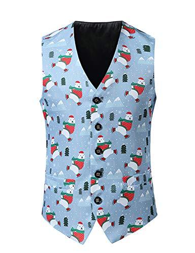WHATLEES Herren Klassische 3D Druck Weihnacht Anzug Weste Party Christmas Vest 02010267X015+M
