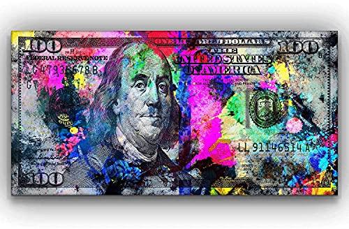 "100 Dollars Bill Wall Art Canvas Print Office Decor Money Pop Art Entrepreneur Motivational 100 Bill Cash Benjamin Franklin Dollar Print Art (24"" x 48"")"