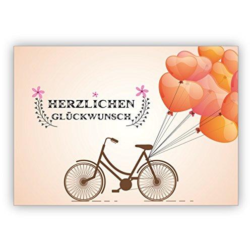 Wunderschöne Geburtstagskarte mit Fahrrad und vielen Luftballons: Herzlichen Glückwunsch • hübsche Grusskarte zum Geburtstag mit Umschlag geschäftlich & privat