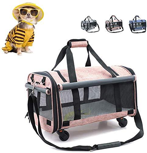 Transportin gato Portador del perro, animal doméstico del carro, Portable del recorrido del gato grande del portador del perro bolsa de asas con ruedas, Adecuada for medianos y pequeños perros y gatos