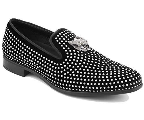 Amali Holden - Men's Velvet Dress Shoes with Gold Panther Bit Formal...