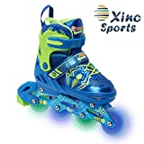 Xino Sports Adjustable Inline Skates - for Growing Girls and Boys, Featuring Illuminating LED Wheels, 1 Year Warranty and a Life Time Support