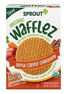 Sprout Organic Wafflez, Apple Carrot Cinnamon, Box Of 5 Toddler Snacks