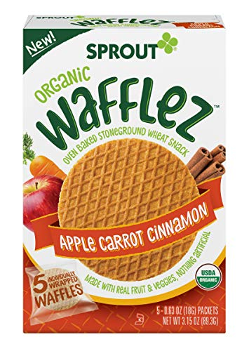Sprout Organic Wafflez, Apple Carrot Cinnamon, Box Of 5 Toddler Snacks