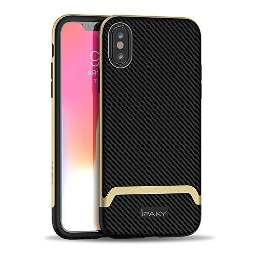 Ibrido Fibra di Carbonio Custodia Protettiva per iPhone XS Max, 6,5'' Antiurto Antipolvere Durevole Chiaro Slim Fit 2 in 1 PC TPU Shell Cover per iPhoneXS Max (Oro)