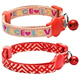 Blueberry Pet Pack of 2 Cat Collars, Love Peace Theme and Salmon Pink Geometry Adjustable Breakaway Cat Collar with Bell, Neck 23cm-33cm