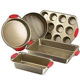 Bakeware Nonstick Baking Pans Set of 5 by Kitchen Komforts. Includes Baking Pan, Loaf Pan, Springform Cake Pan, Muffin Pan, Pizza Pan, with Red Silicone Handle Grips