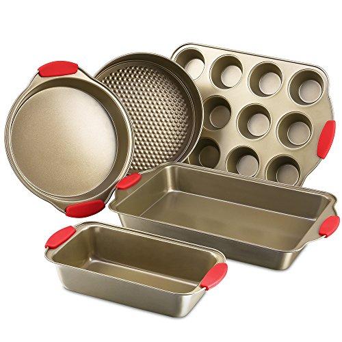 Komforts di padelle antiaderenti cottura cucina Bakeware set, con manici in silicone, in acciaio al carbonio