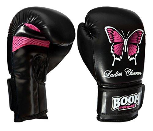 BOOM Prime Damen Schwarz Leder Gel Boxhandschuhe Stanztasche MMA Handschuhe Martial Arts Damen Kick Muay Thai 12oz
