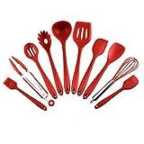Juego de 10 utensilios de cocina de silicona antiadherente, juego de utensilios de cocina de silicona para cocina, pala de cocina, juego de utensilios de cocina gules