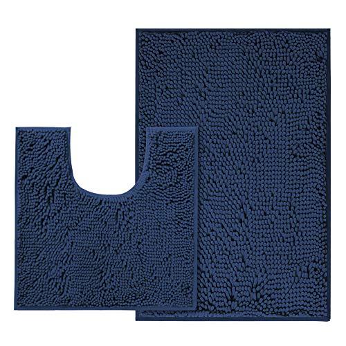 BellaHills Alfombras de baño de microfibra de felpilla, ultra suaves, lavables, de secado rápido, absorbentes de agua, para dormitorio, cocina, antideslizantes, juego de alfombras de color azul marino