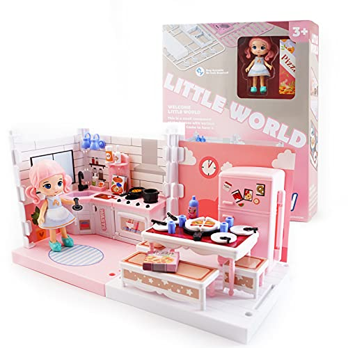 DIY Miniature Dollhouse Kit, Uorker Toys for 3 Year Old Girls Doll House 4-5 Year Old Toys for Girls Dollhouse Kit Furniture and Dolls Girls Toys Gift for 3 Year Old Girl