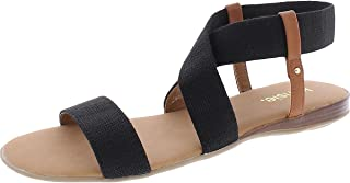 Kensie Womens Bora Slip On Open Toe Flat Sandals Black 9.5 Medium (B,M)
