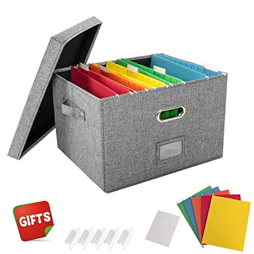 JSungo File Organizer Box Office Document Storage with Lid, Collapsible Linen Hanging Filing Organization, Home Portable Storage with Handle, Letter Size Legal Folder, Grey
