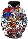 Sudadera con capucha unisex Naruto 3D Pullover Sudadera con capucha Hombres Mujeres Moda Casual Sudaderas con capucha con grandes bolsillos (Color : 4, Size : M)
