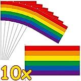 DH-Konzept 10 Papierflaggen * Regenbogen Farben * als Deko für Party & Geburtstag | Mottoparty Fähnchen Dekoration Pride Gay LGBT
