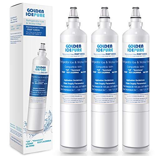 GOLDEN ICEPURE 469990 Replacement Water Filter LG LT600P, RFC1000A, WF710, RWF1000A, FML-2 Refrigerator 5231JA2006B, LFX25961SB, LSC27931ST, LFX25971ST, LRSC26925TT, LSXS263266/02, LSC27990TT 3PACK