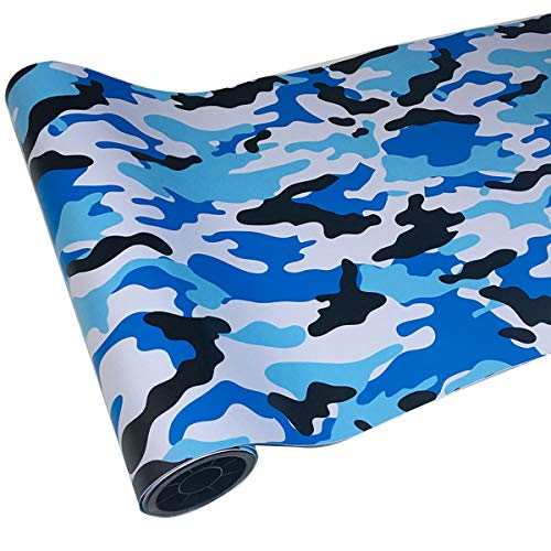 ECYC Camo Wrap Vinyle De Voiture Sticker Camouflage Autocollant De Voiture Film pour Voiture Styling Vélo Ordinateur Portable Scooter Moto, Bleu Clair, 50x150cm