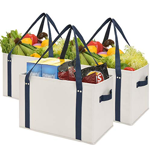 GRANNY SAYS Reusable Grocery Bags, Collapsible Shopping Tote Bags, Eco-Friendly Shopping Cart Bags, Washable Large Storage Bins, Heavy Duty Canvas Shopping Bags with Handles & Straps, Gray and Navy, 3-Pack