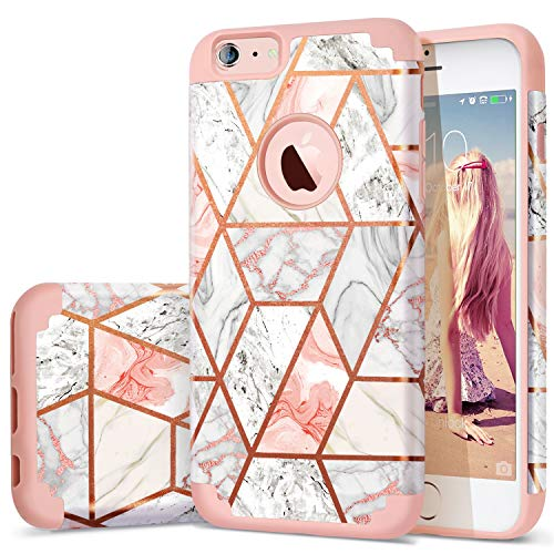 Fingic iPhone 6s Plus Case/iPhone 6 Plus Case Rose Gold Marble Design Shiny Glitter Bumper Hybrid Hard PC Soft Rubber Silicone Anti-Scratch Shockproof Protective Case for Apple 6 Plus 6s Plus 5.5 inch