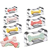 6 Pieces Dog Bone Cookie Cutters, Bone Shape Cookie Cutters set Stainless Steel Biscuit Mold for Dog Cat Homemade Treats