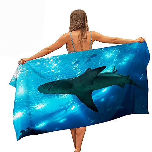 Surwin Grande Toalla de Playa de Microfibra Toalla a Impresión de Secado Rápido Súper Absorbente Natación Toalla de Arena Antiadherente para Playa, 3D Oceano Impresión (Tiburón 4,70x150cm)
