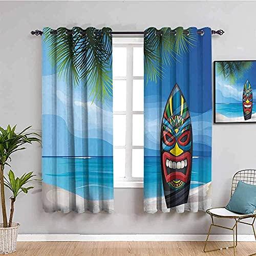 MXYHDZ Opacas Cortinas Dormitorio - Azul Cielo Playa Surf - Impresión 3D Aislantes de Frío y Calor 90% Opacas Cortinas - 183 x 160 cm - Salon Cocina Habitacion Niño Moderna Decorativa