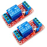 HiLetgo 2pcs 12V 1 Channel Relay Module Relay Switch With Optocoupler Isolation Support High or Low Level Trigger