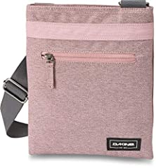 Front zip pocket for any small accessories Adjustable crossbody strap Interior zippered pocket Top zip closure Embroidered Dakine logo on front