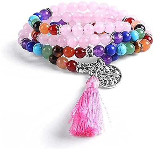 KEEBON Pulsera con Cuentas Amistad Strand Pulseras para niñas 7 Chakra 108 Mala Yoga Beads Pink Quartz Stone Multilayer Bangle (Color : A)