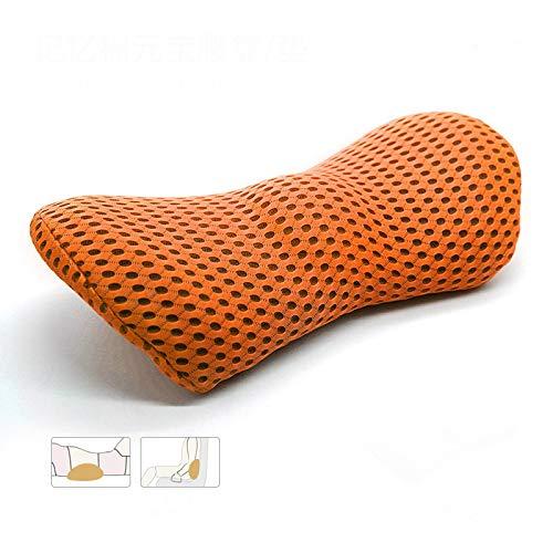 Cojín lumbar de espuma viscoelástica para coche, cojín lumbar, cojín lumbar, almohada de malla 4D, color naranja