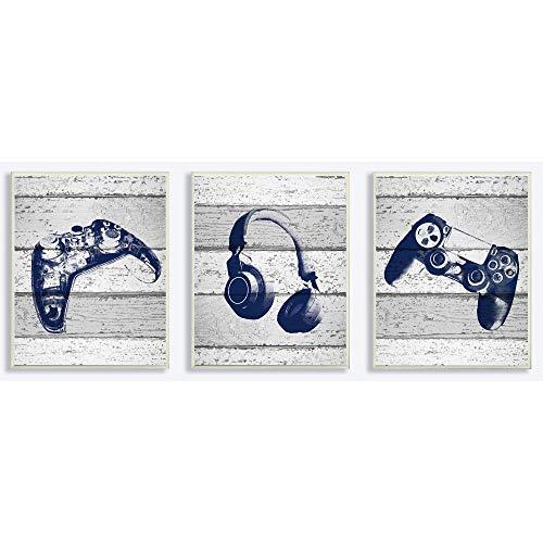 The Kids Room by Stupell Stupell Kunstdruck auf Leinwand, Motiv Video Gamer Trio Controllers Headset, Blaue Grafiken auf Planken, gespannt Wandtafel 3pc, Each 10 x 15 Mehrfarbig