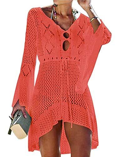ASALWAYS Dames Beachwear Bikini Cover Up Badpak Cover Up gehaakte jurk Hollow Out V-hals gebreid badpak badpak