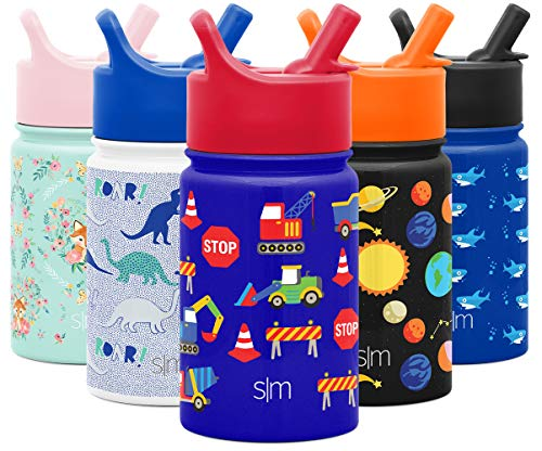 Simple Modern Kids Insulated Cup with Lid and Silicone Straw Stainless Steel Flask Metal Thermos for Toddlers Boys and Girls, 10oz Water Bottle, Under Construction