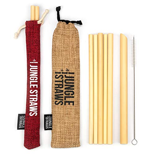 Jungle Straws® Reusable Bamboo Drinking Straws   Pack of 6 Including Boba Straw for Bubble Tea,...
