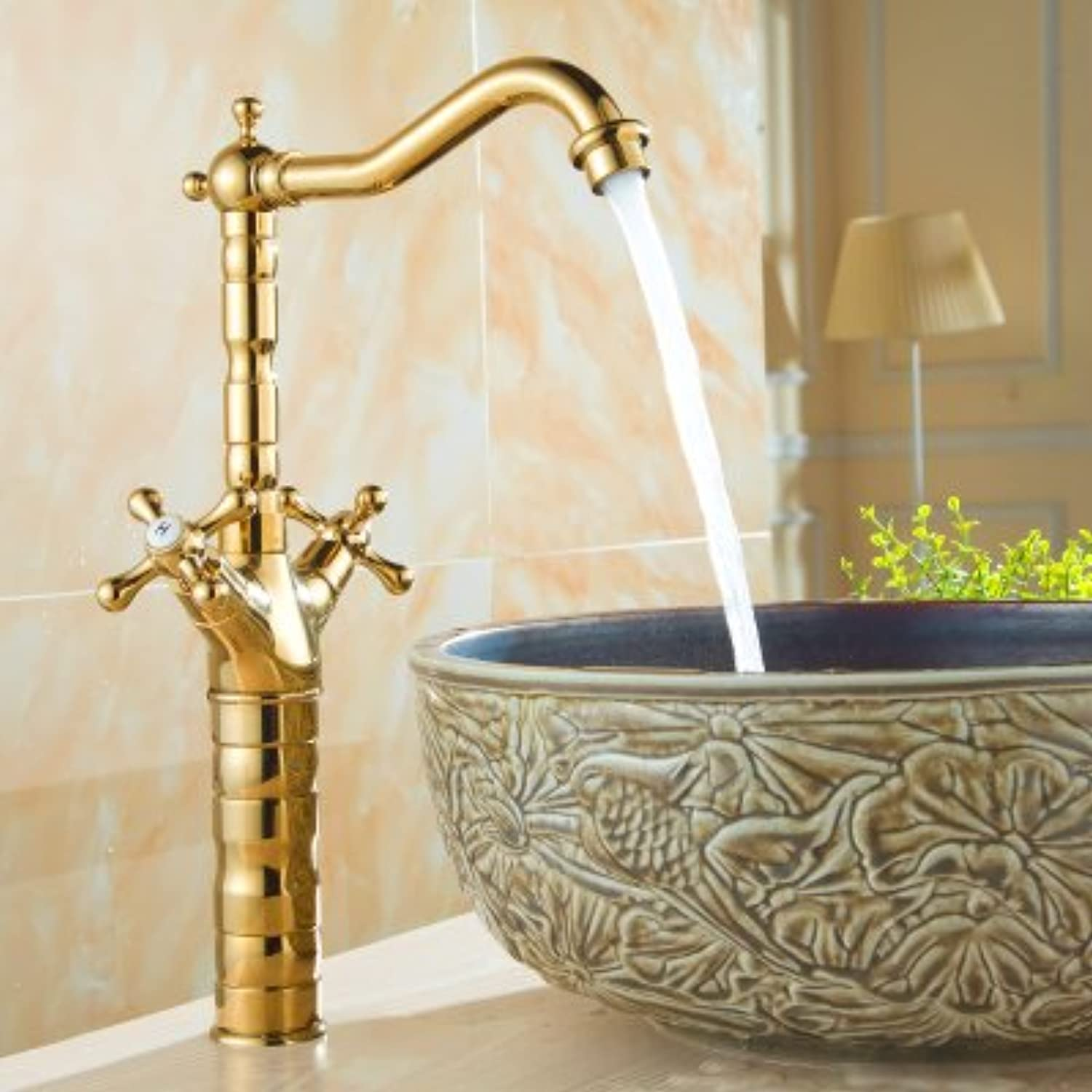 Maifeini ?golden Dragon Throughout Europe Copper Deluxe Bathroom Faucet Basin Mixer Single Hole Kim Classical Faucet, Brass,