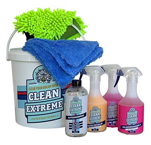 CLEANEXTREME Autowäsche Set Base für Glanz-Lack & Glanz-Folie | Autoshampoo Felgenreiniger Insektenentferner Auto-Detailer & Wascheimer mit Deckel