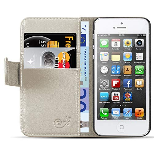 JammyLizarD Lederhülle für iPhone 6 / 6s | Ledertasche [ Classic Wallet Tasche Series ] Schimmer Leder Book Hülle Hülle Flip Cover Schutzhülle mit Kartenfach, Champagner