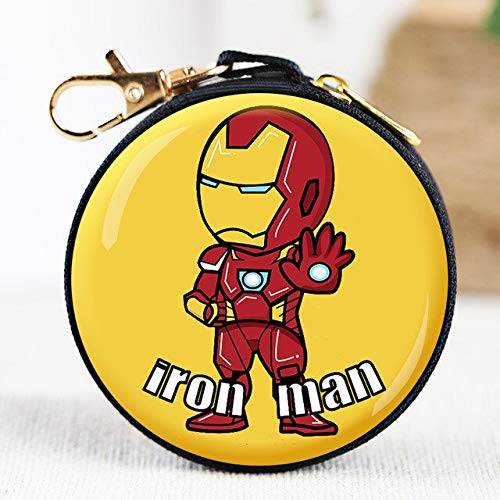 N / A Superheld Spider-Man Münzgeldbörse Cartoon Superman Batman Iron Man Runde Kopfhörer Box Kinder Brieftasche Aufbewahrungstasche 8x8x3.5CM