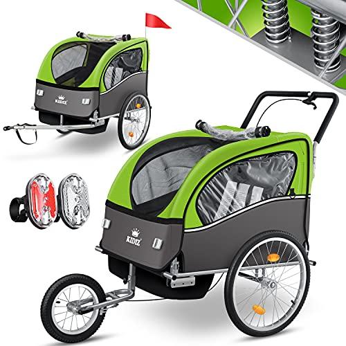 KIDIZ® 3in1 Fahrradanhänger Jogger Kinderanhänger Joggerfunktion Kinderfahrradanhänger für 1 bis 2 Kinder 5-Punkt Sicherheitsgurt inkl. Fahne und LED-Lichtern max. 70kg Fahrrad Anhänger, Grün