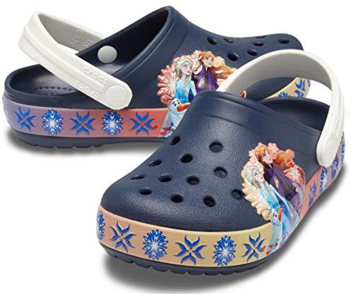 Crocs unisex child Kids' Disney Frozen 2 Light Up   Frozen Light Up Shoes for Girls Clog, Navy, Little Kid US